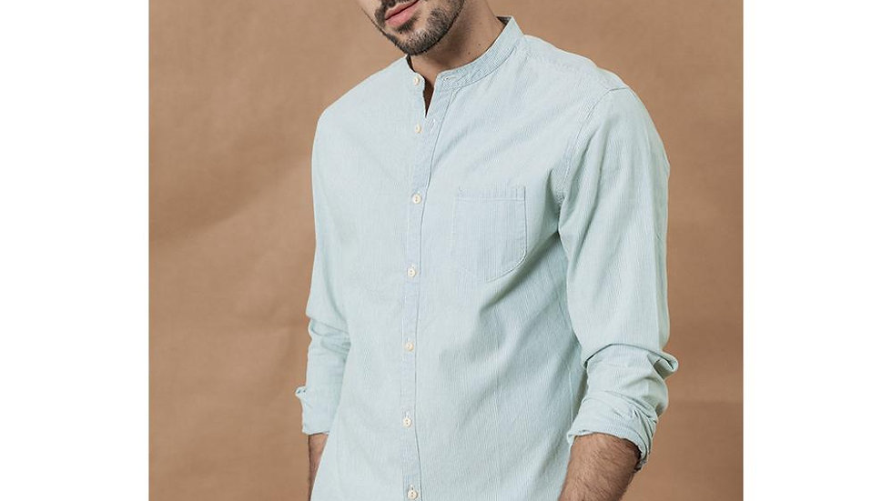 SIMWOOD Stand Collar Vertical Striped Shirts Men 100% Cotton Classical Denim