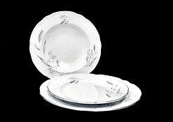 Thun CONSTANCE talířový set /18ks, bílý s šedivým dekorem
