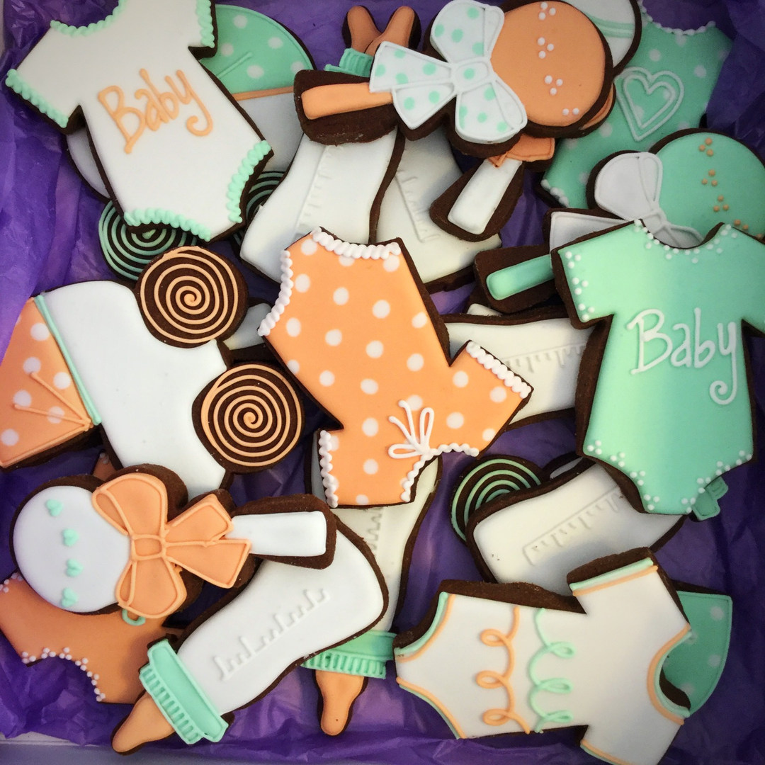 Baby Shower Orange and Mint Cookies