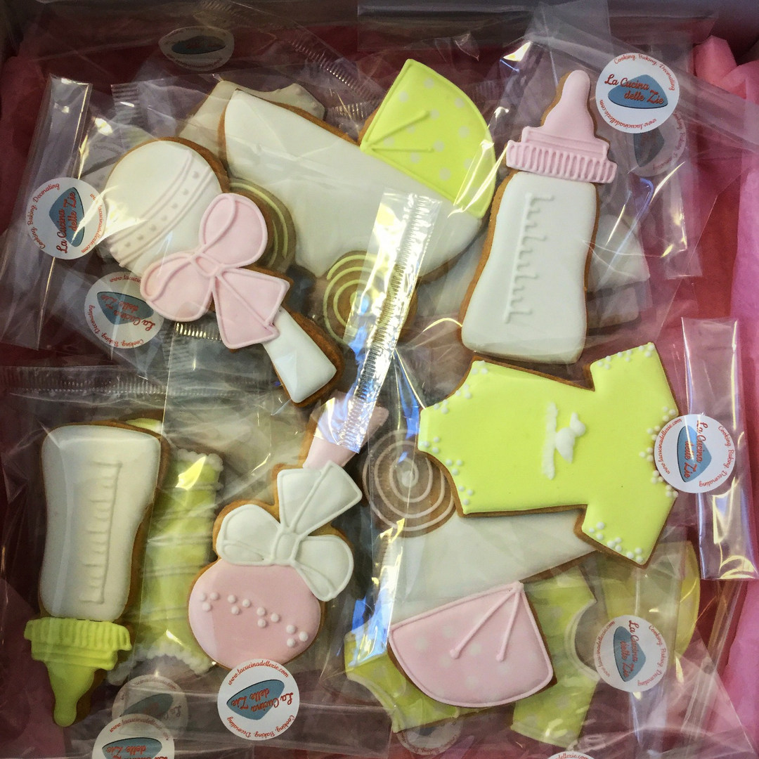 Baby Shower Yellow and Pink Cookies