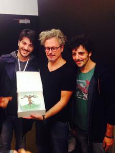 Silvestri, Gazzè, Fabi - Celebrating the European tour with our cake