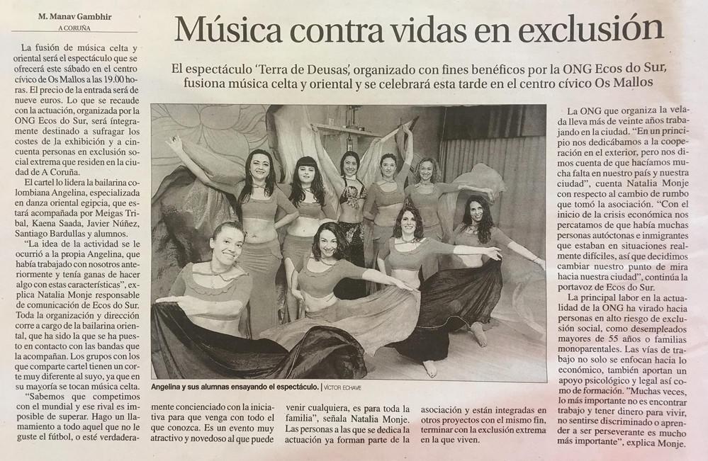 Angelina Masud y su equipo de bailarinas en la Voz de Galicia