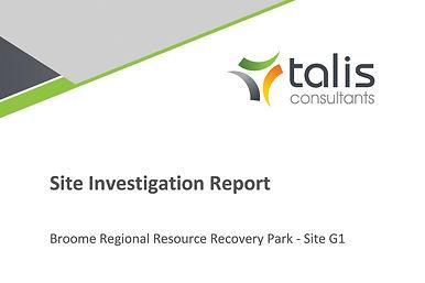 RRRP Site Investigation Report G1