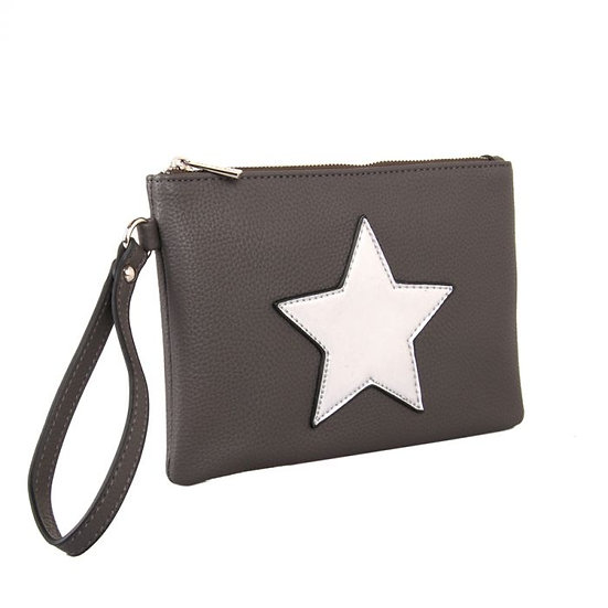 Vegan Leather Pouch with Single Star