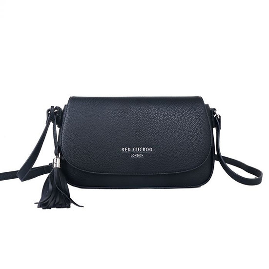 Vegan Leather Black Side Tassel Cross Body Bag