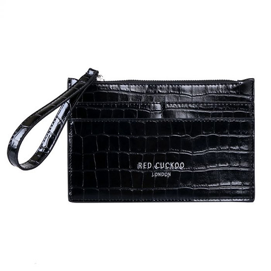 Vegan Leather Croc Effect Purse with Strap