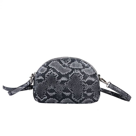 Vegan Leather Grey Snake Skin Effect Double Zip Fastening Cross Body Bag