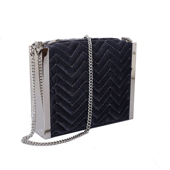 Grey Quilted Evening Bag