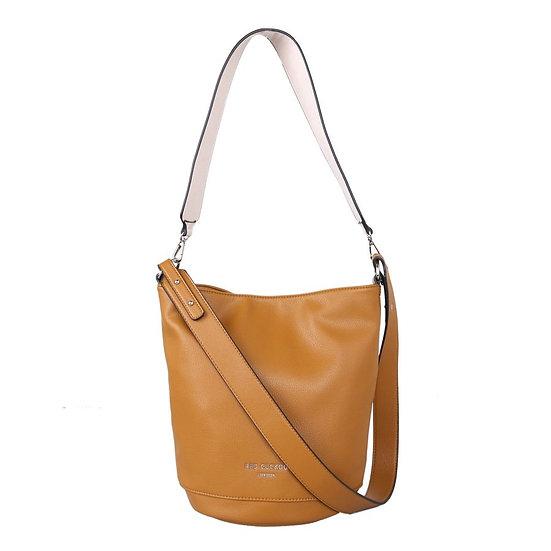 Vegan Leather Bucket Bag with Contrast Shoulder Strap