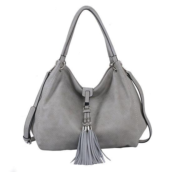 Vegan Leather Silver Shoulder Bag with Tassel