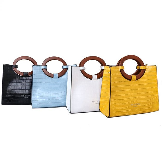 Vegan Leather Croc Effect Tote with Wooden Handles