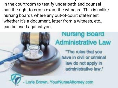 Hearsay, Used Against Nurse in Board Hearings. Not Justice.
