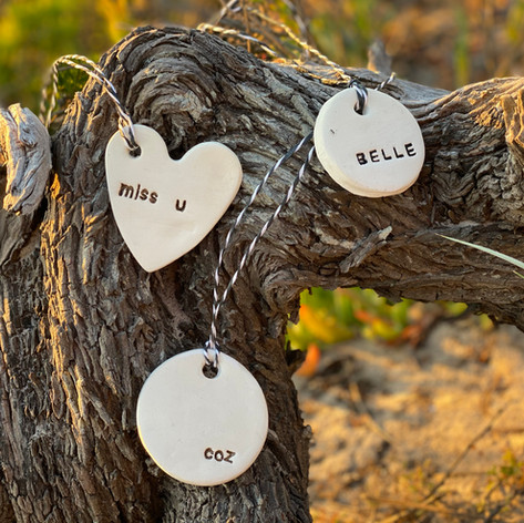 Personalised ceramic gift tags - $10