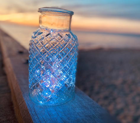 Glass lantern $25