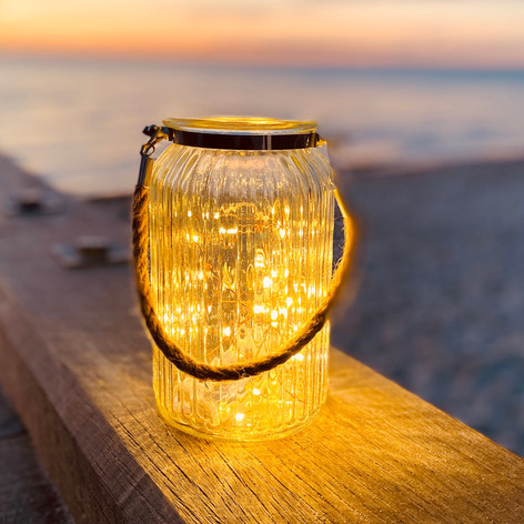Glass lantern with rope $22