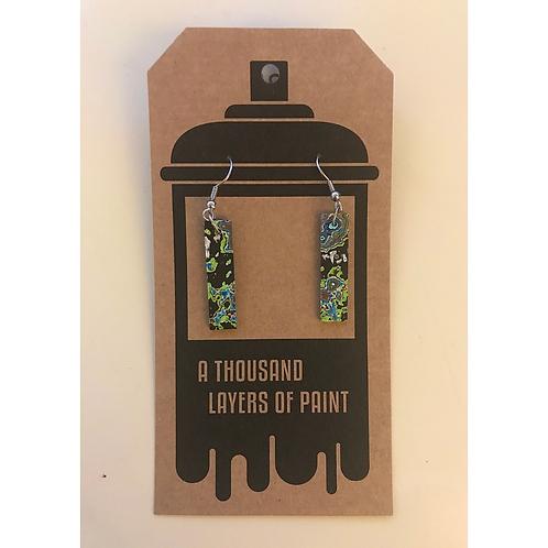 Graffiti Dangle Earrings (Rectangle), by Koen Noordenbos