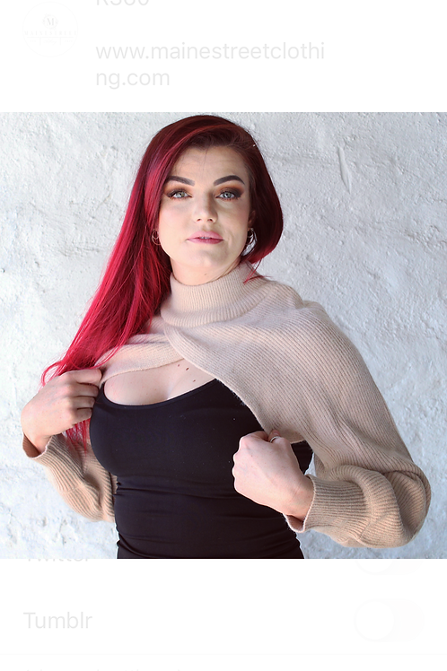 Beige & Black Cropped Sweater
