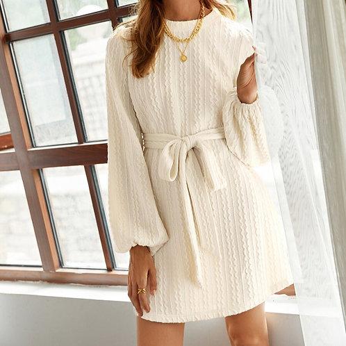 Cream Bishop Sleeve Knit Dress
