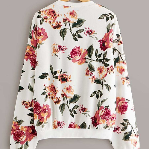 White Floral Sweater