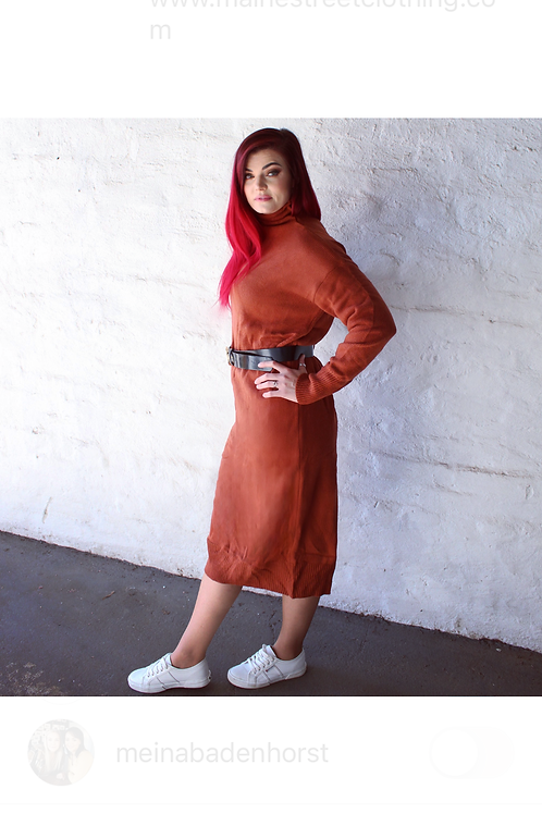 Rust Long Sweater Dress