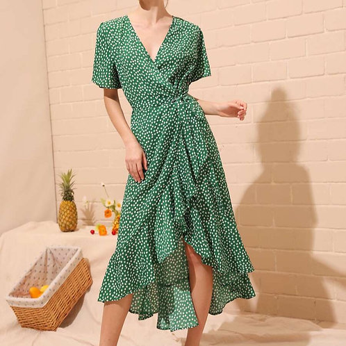 Wrap Green Daisy Dress
