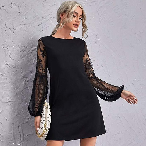 Black Mesh Lantern Sleeve Dress