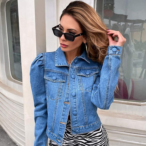 Covered Button Puff Sleeve Denim Jacket