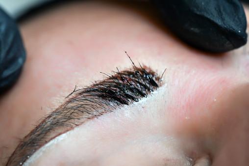 Microblading eyebrows, getting facial ca