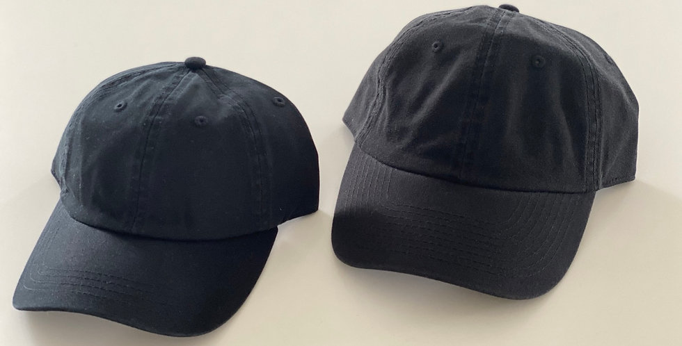 All Black Adult & Youth Adjustable Caps Set