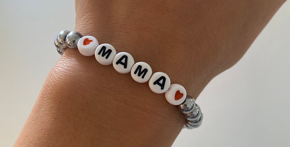 Mama Silver Hematite Handmade Bracelet