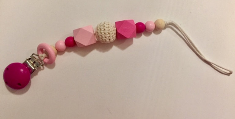 Pink Wooden Pacifier Clip