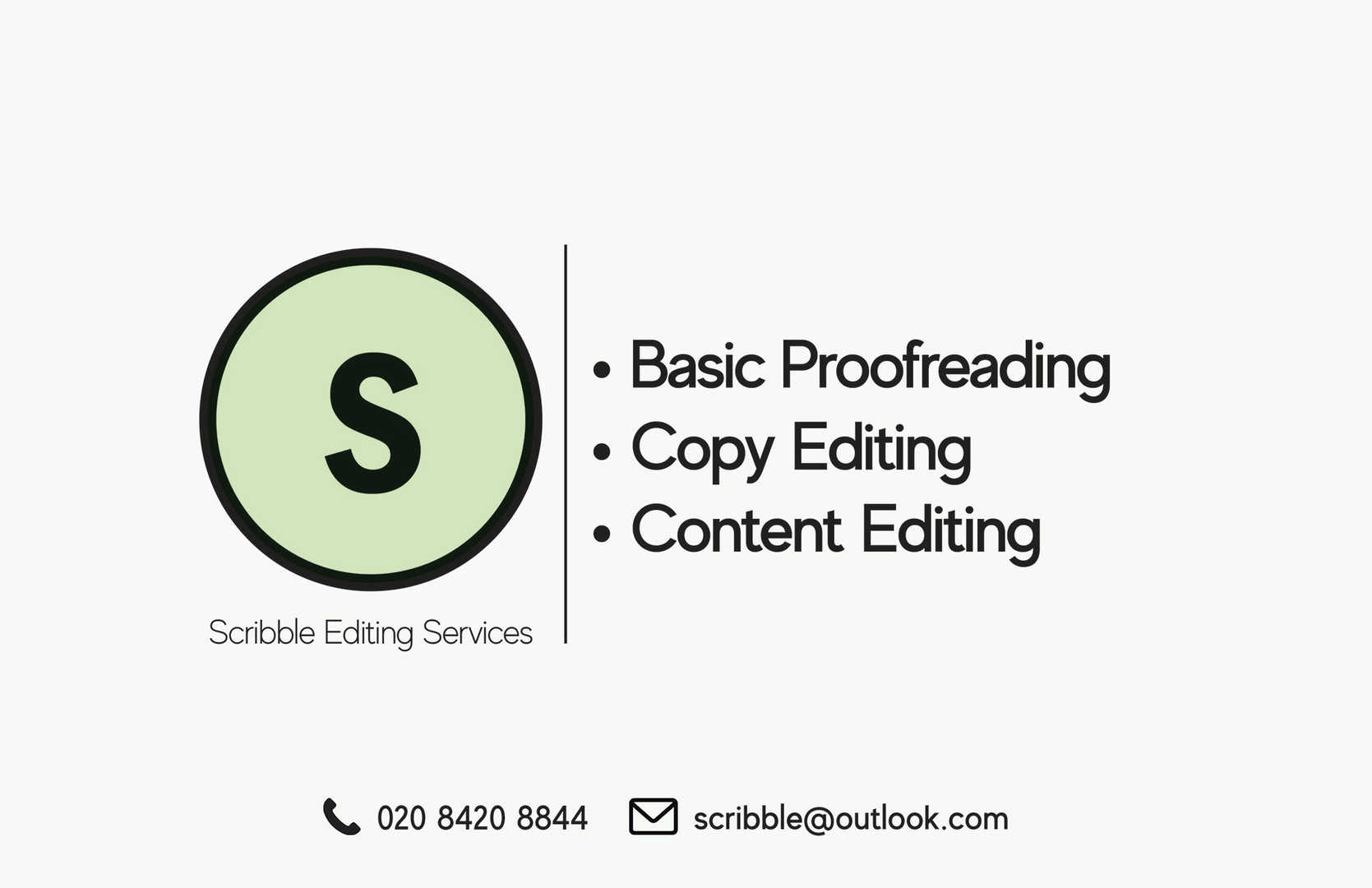 Scribble Editing Services Business Card