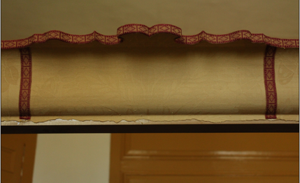 Cornice with Wool Damask Trimmed with Tape