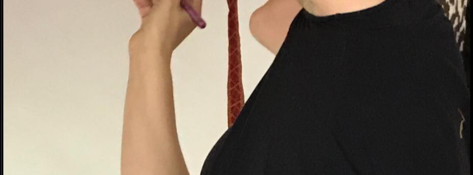 Elizabeth Paolini gluing tape to cover seams.