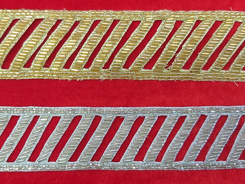 Product #Ne23 | Hand Embroidered Cut-work Glass cut-beads Border