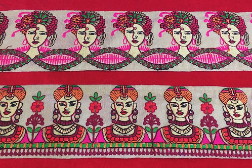 Product #B64 | Machine Embroidred Borders with Funky Multicolor Characters