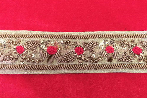 Product #B28 | HandMade ZardoziWork Border with Sequins & Red FrenchKnotting