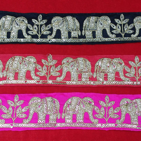 Product #B44 | Exclusive Machine Embroidered Border with Golden Elephant Pattern