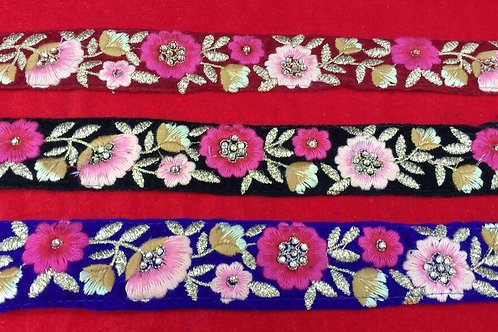 Product #B04   Machine Embroidered Border Multicolour Floral Patterns on Velvet