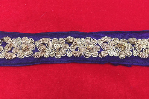 Product #B15 | Handmade ZardoziWork Border with Flower and Leaf Patterns