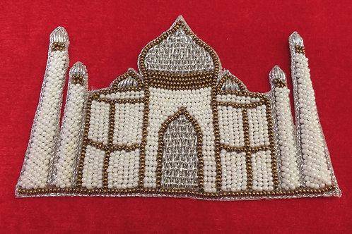 Product #P01   BeadWork & ZardoziWork Patch HandMade MlkWhite Taj Mahal Design