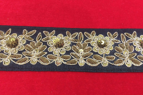 Product #B20   Handmade ZardoziWork Border with Marodi Flowers & Sequins