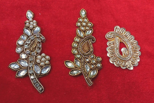 Product #909 | Zardozi-Work Appliques Thin Leaf Kalis and Golden Sequins Ambi