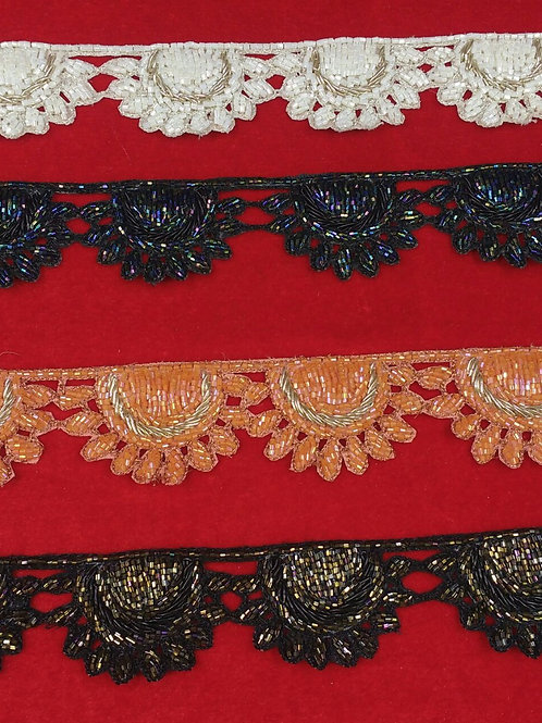 Product #B73 | Handmade Exclusive Border with CutBeads Scallops