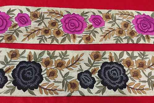 Product #B118 | Machine Embroidery Border with Colourful Floral Parsi GaraWork