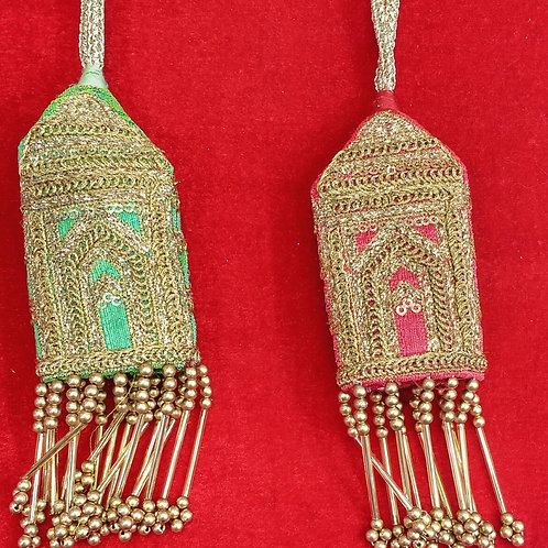 Product #T56 | Tassels in Taj Mahal Pattern Golden Cylindrical Beads