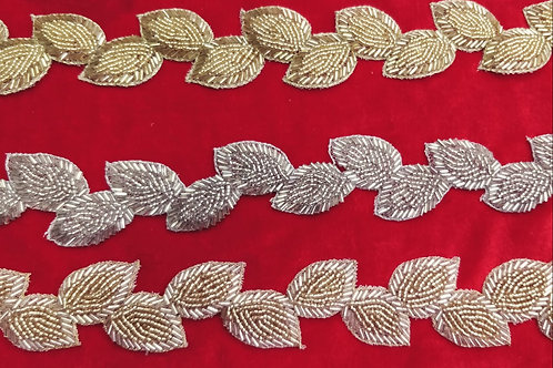 Product #Ne09 | Hand Embroidery Cut-work Leaf Trail Design