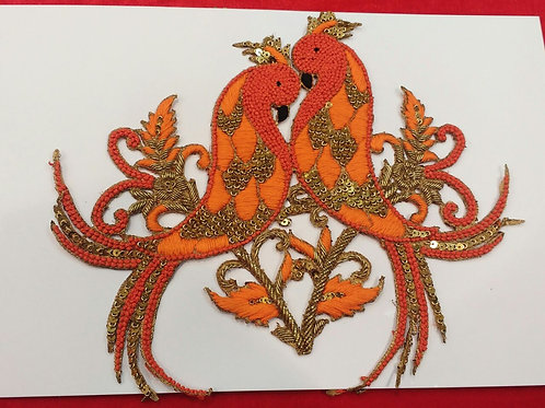 Product #561   Zardozi-Work Patch Special Orange Bird-Coup Design