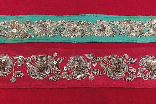Product #B13 | ZardoziWork Handmade Border with Fine Flower Patterns & Sequins