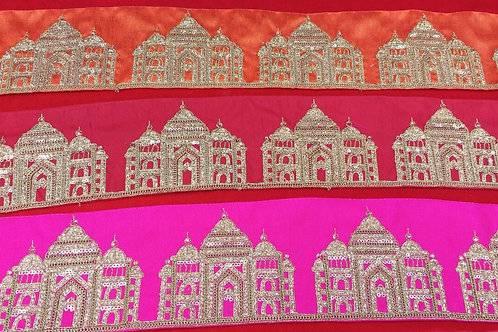 Product #B41 | Exclusive Machine Embroidered Broad Border with TajMahal Patterns